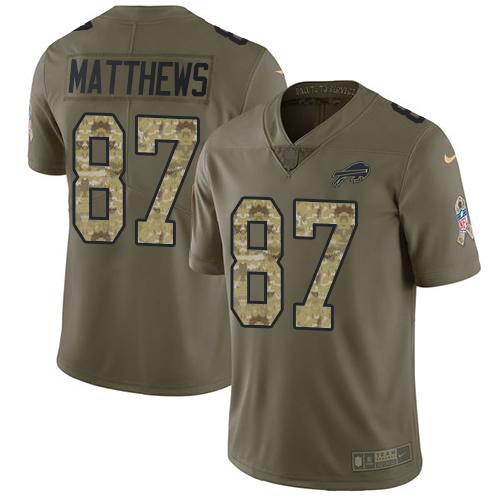 Nike Bills #87 Jordan Matthews Olive/Camo Men's Stitched NFL ...