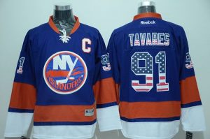 Islanders #91 John Tavares Baby Blue USA Flag Fashion Stitched NHL Jersey