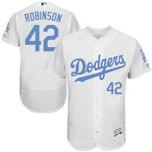 Dodgers #42 Jackie Robinson White Flexbase Authentic Collection 2016 Father's Day Stitched MLB Jersey
