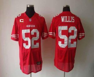 Nike 49ers #52 Patrick Willis Red Team Color With C Patch Men's Embroidered NFL Elite Jersey